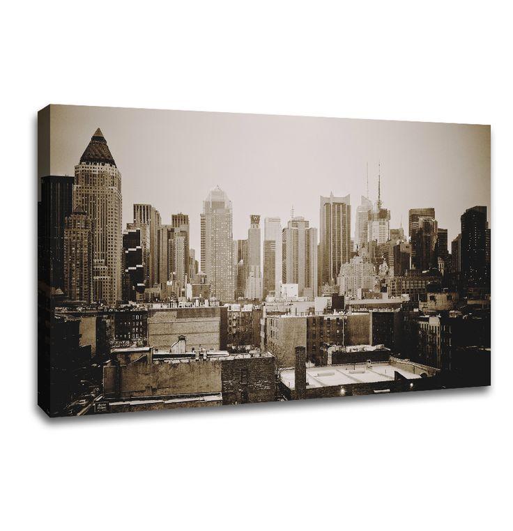 New york canvas art retro sepia