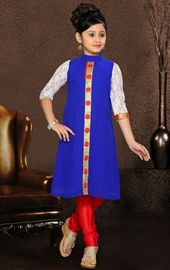 Picture of Plushy Blue Color Kids Salwar Kameez