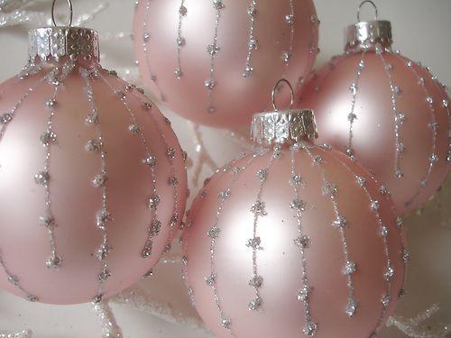 Chic 4 Tiffany Pink Silver Glass Ornament Tree Xmas Vtg Shabby Victorian Decor | eBay-Designers Holiday Treasures Star