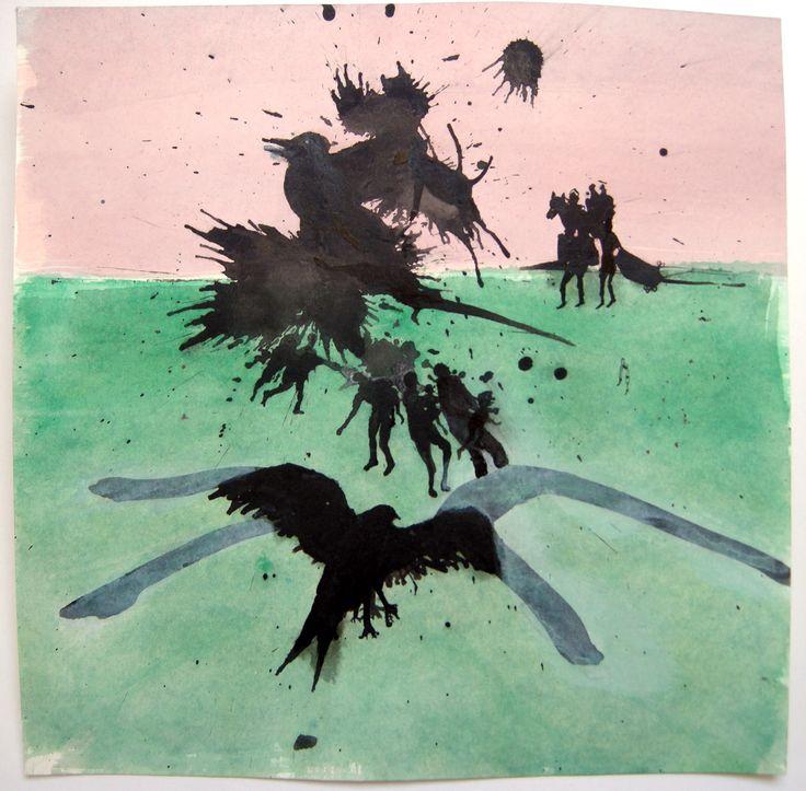 Pim van Hal;em. Much ado #IV Kleine reeks tekeningen op basis van inktvlekken. Oostindische inkt en vloeibare acryl. Vogels en mensen in een landschap.