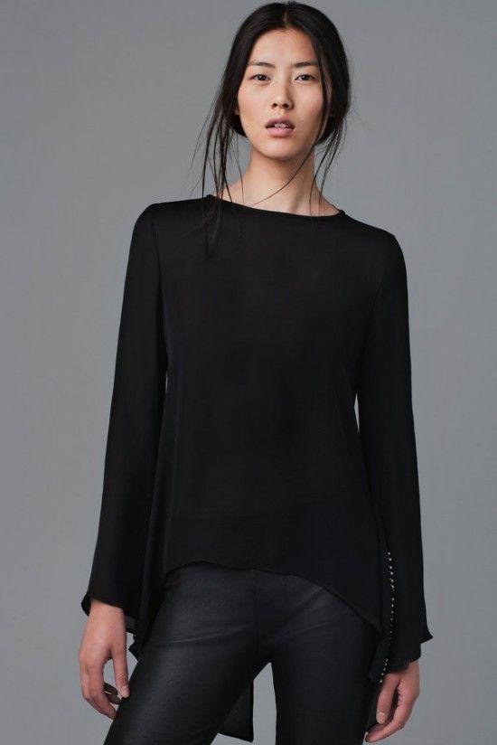 Siyah Gömlek Siyah Deri Pantolon Kombini Zara Sonbahar Kış Koleksiyonu