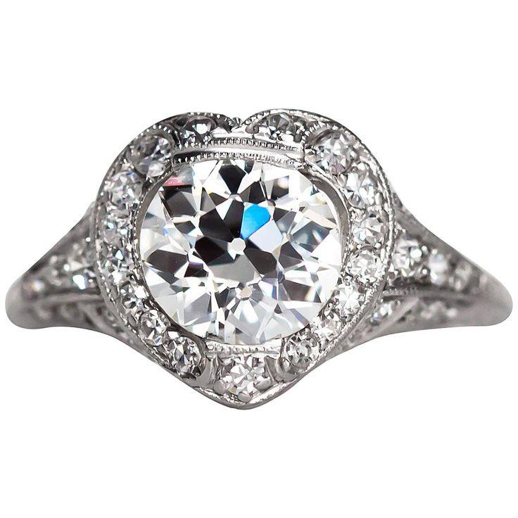 1920s Art Deco 1.73 Carat GIA Certified Diamond Platinum Engagement Ring