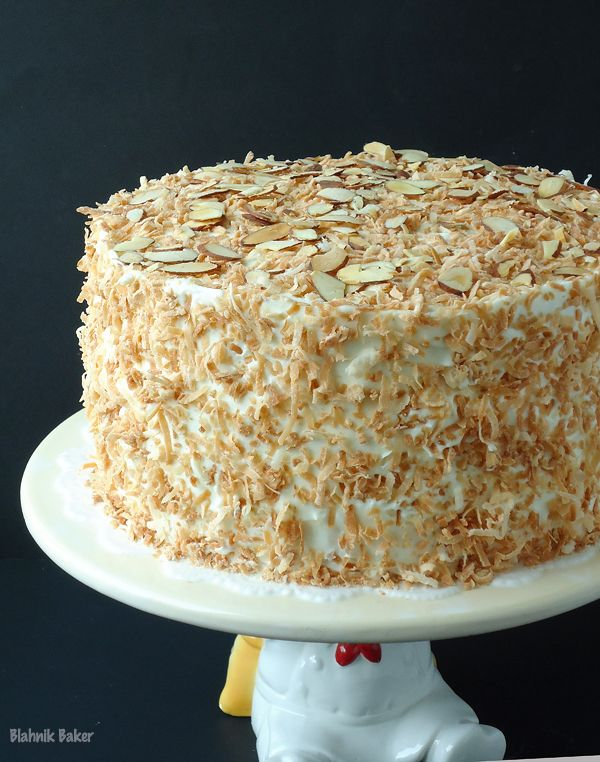 Coconut Almond Cream Cake - this could be made low carb, and it would be more coconutty and almondy with coconut and almond floors.