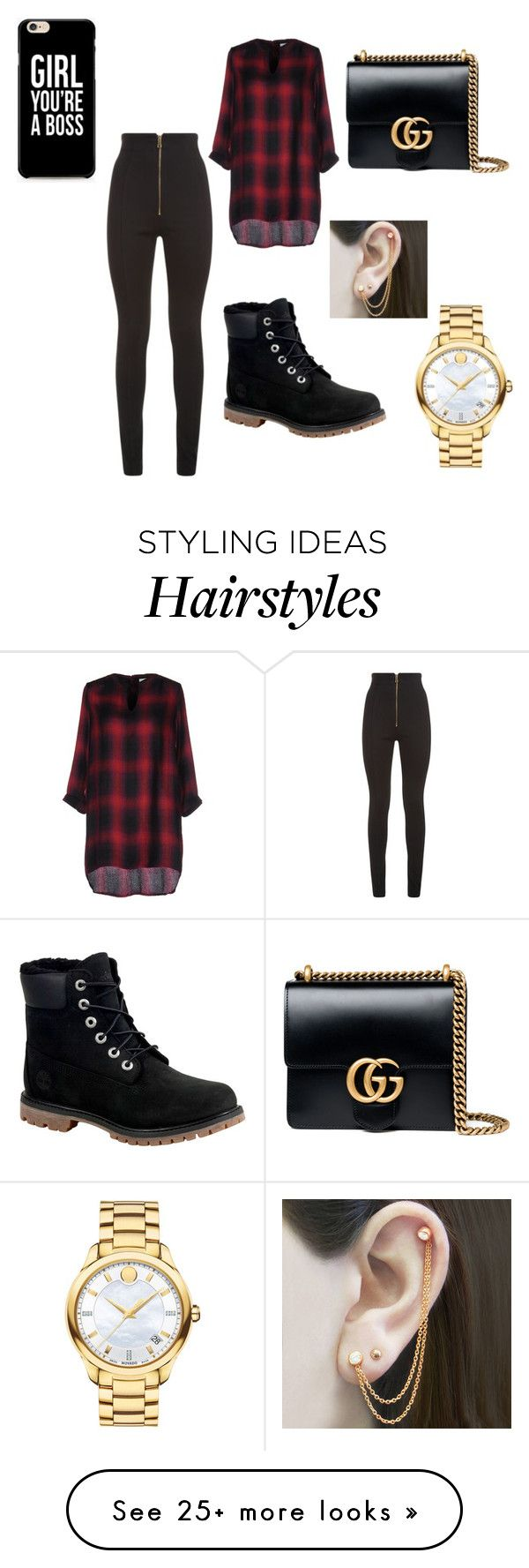 """Slay until your hair turn gray - Bambii"" by apridgen on Polyvore featuring Balmain, Vero Moda, Timberland, Gucci, Movado and Embers Gemstone Jewellery"
