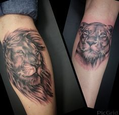 Husband and wife matching tattoos. Realistic lion and lioness tattoo on calf. Animal portrait tattoo. Couples tattoo ideas