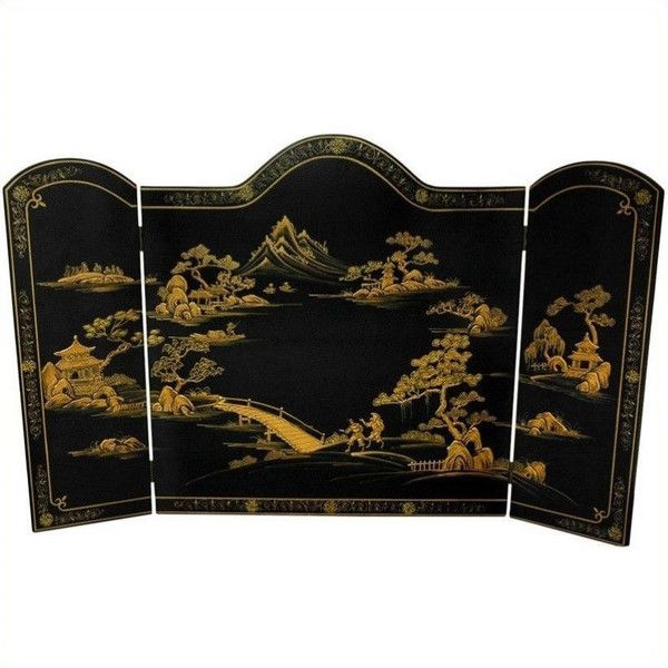 Oriental Furniture Fireplace Screen ($272) ❤ liked on Polyvore featuring home, home decor, fireplace accessories, handmade home decor, fire-place screen, inspirational home decor, asian home decor and oriental home decor