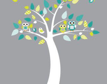 Pared calcomanía vivero, etiqueta de la pared de bebé vivero, vivero árbol pared calcomanías, etiquetas de la pared del cuarto de niños, búho etiquetas de la pared