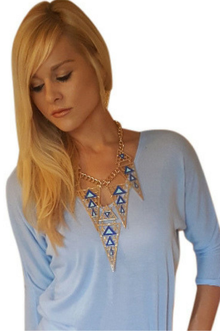 Aztec Statement Necklace and Earrings Set! Blue.