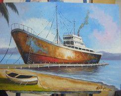 Navio Cargueiro pintura acrílica.