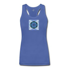 Women's Bamboo Performance Tank with Freedom and Love Soul Mandala Racerback performance tank top for women. 67% bamboo, 29% cotton, 4% spandex.  http://akashabloom.spreadshirt.com/women-s-bamboo-performance-tank-by-alo-A14759137/customize/color/486