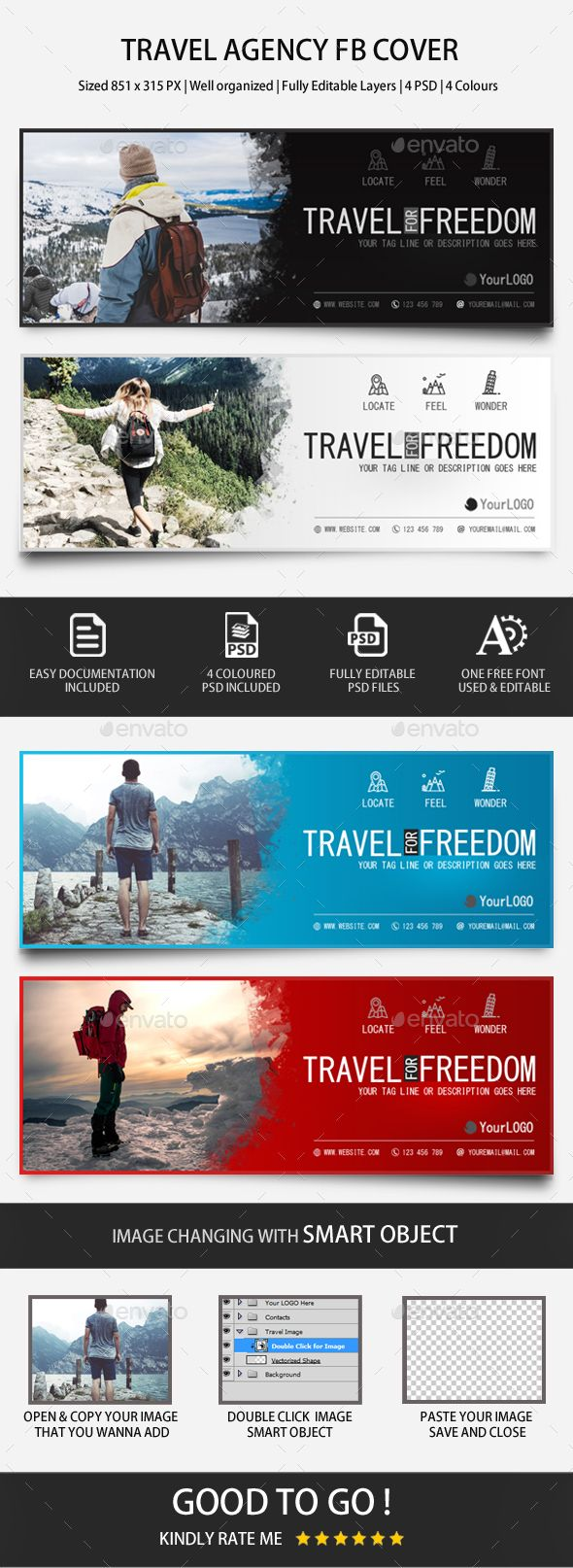 Travel Agency Facebook Covers Template PSD Facebook
