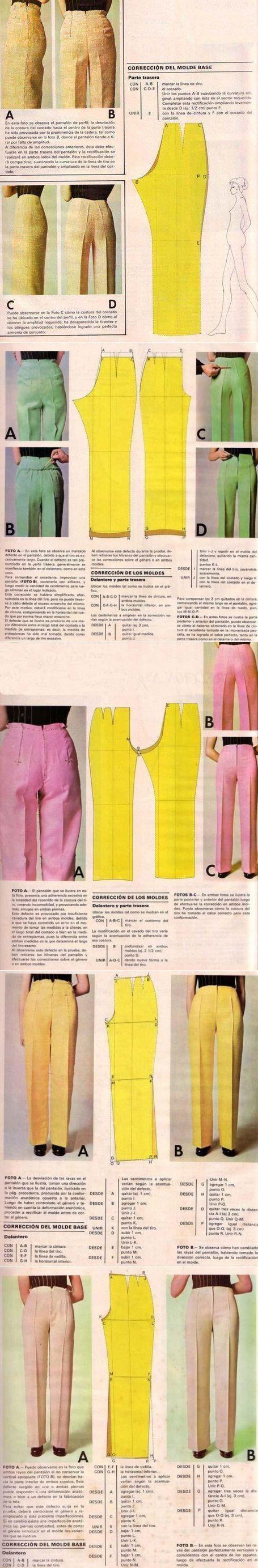 Corrigir padrões calças: