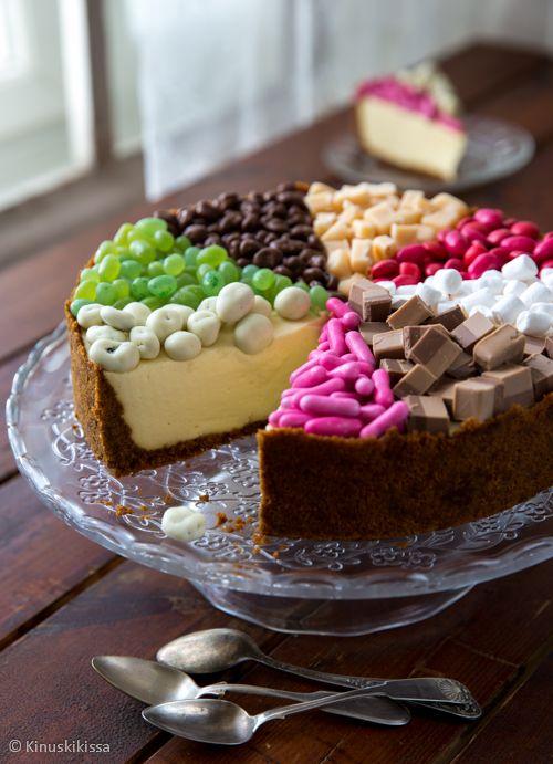 Sektorikakku / Mistähän leikkaisi? Tästä kakusta jokainen löytää suosikkinsa! Sektorikakun idea on jakaa kakun pinta osioihin, jotka täytetään erilaisilla mauilla: käytä karkkeja, marjoja, hedelmiä, pähkinöitä… lastenkakkuun sopivat makeiset ja joulukakkuun mantelit, rusinat, suklaat, luumut, puolukat… Jos kakku muodostuu marjasektoreista, saa pintaan lisää juhlavuutta hyytelösokerista tehtävällä kiilteellä.