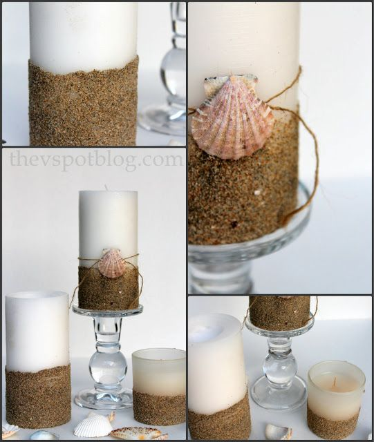 Decorate plain pillar candles with sand. More sand crafts: http://www.completely-coastal.com/2012/10/best-decorative-beach-sand-craft-ideas.html