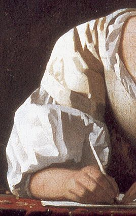 Details: Vermeer's Painting Technique Lady Writing a Letter With Her Maid (national Gallery of Ireland, Dublin)