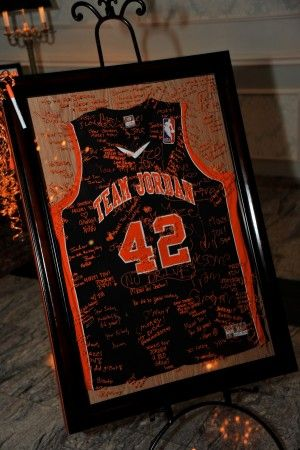 Guests signed a beautifully framed basketball jersey which now hangs in Jordan's room.