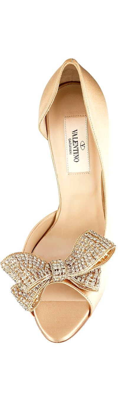 VALENTINO | Beige Satin Jeweled Bow d'Orsay Platform Pumps