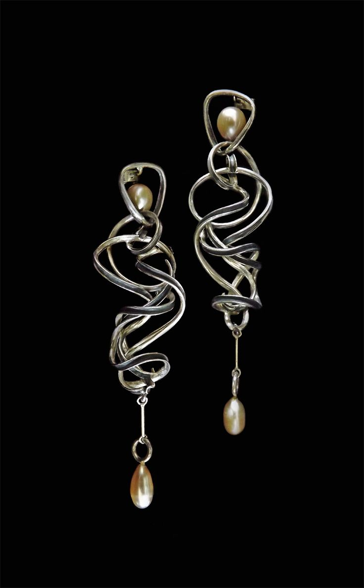 Earrings by Bon Ton Joyaux, oxidized sterling silver, fresh water pearls.