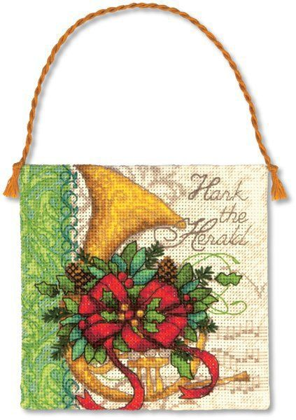 "French Horn Christmas Ornament - Cross Stitch Kit $5.94 at 123Stitch.com. Finished Size: 4.25"" square (10 cm).   Counted cross stitch kit contains presorted cotton thread, 18 count ivory Aida, felt, needle, and easy instructions. Also needed but not included: thick craft glue and quilt batting. Designed by Lori Siebert."