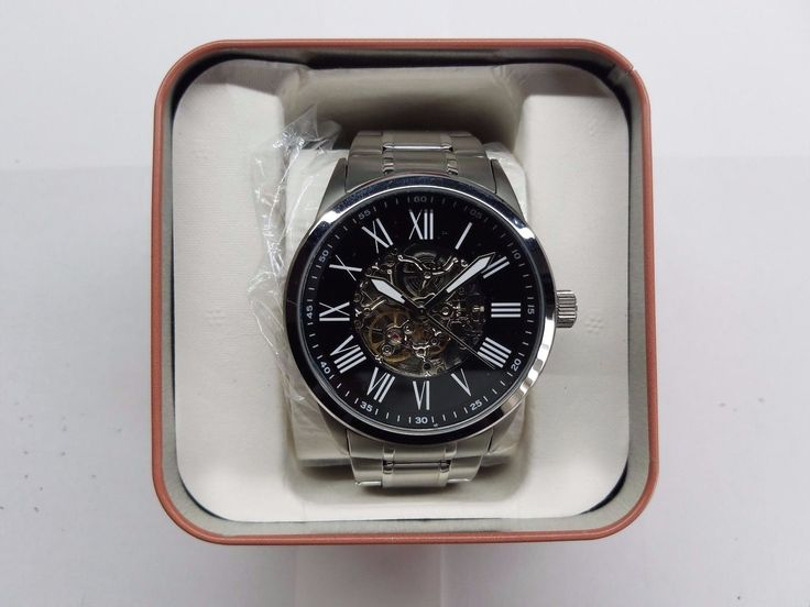 FOSSIL AUTOMATIC BLACK SKELETON DIAL STAINLESS STEEL MENS WATCH BQ1700 NEW
