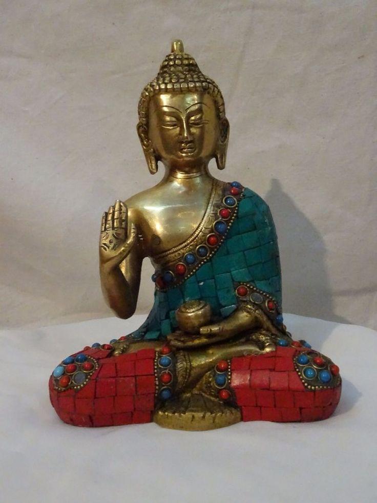 Turquoise Coral Buddha Metal Statue Brass Large Vintage finish Art 001