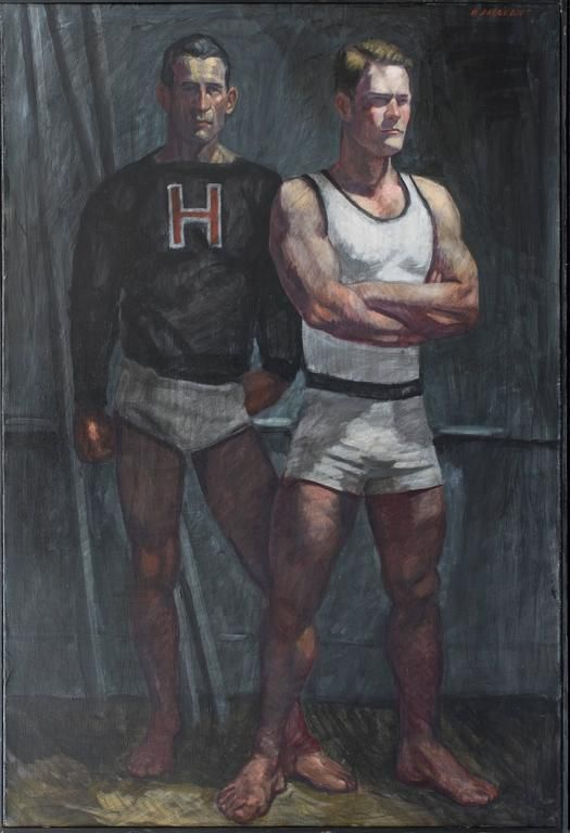 Harvard Athletes (Contemporary Oil Portrait of Two Male Athletes) | From a unique collection of figurative paintings at https://www.1stdibs.com/art/paintings/figurative-paintings/