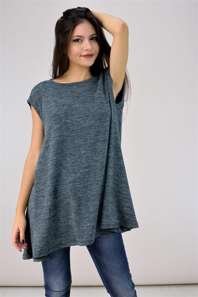 Φαρδιά αμάνικη μπλούζα πλεκτή - ΓΥΝΑΙΚΕΙΑ - ΜΠΛΟΥΖΕΣ   POTRE