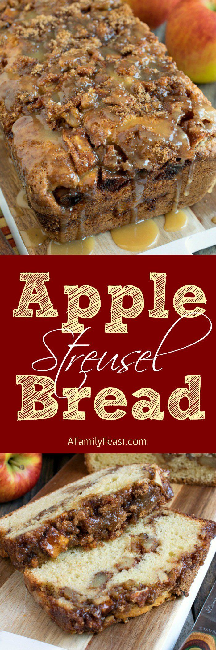 Apple Streusel Bread - A sweet cake-like bread with a layer of apple chunks and walnuts in middle and topped with a cinnamon streusel. The best dessert for apple season!