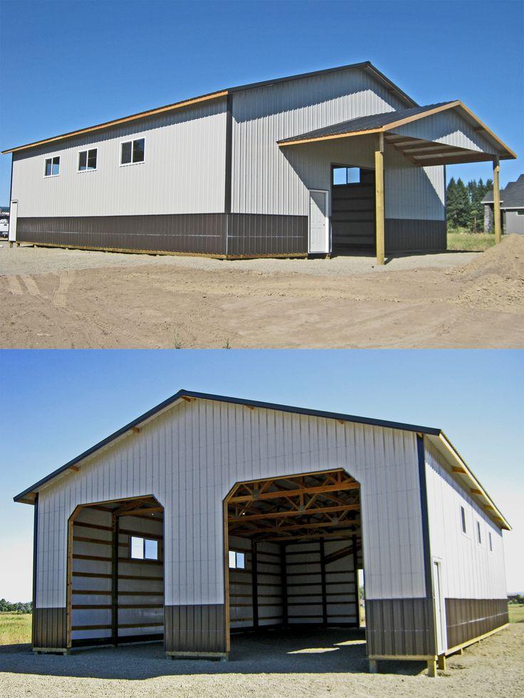 40 X 60 X 16 Pole Building With 4 Metal Wainscot Gable Extension Overhead Door Walk In