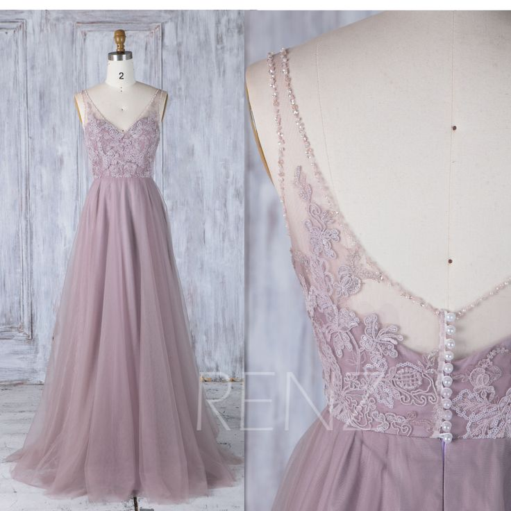 2017 Dusty Thistle Mesh Bridesmaid Dress V Beading Neckline