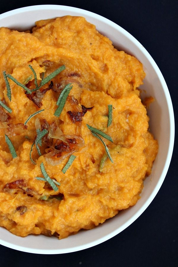 Mashed Sweet Potatoes with Caramelized Onions and Brie