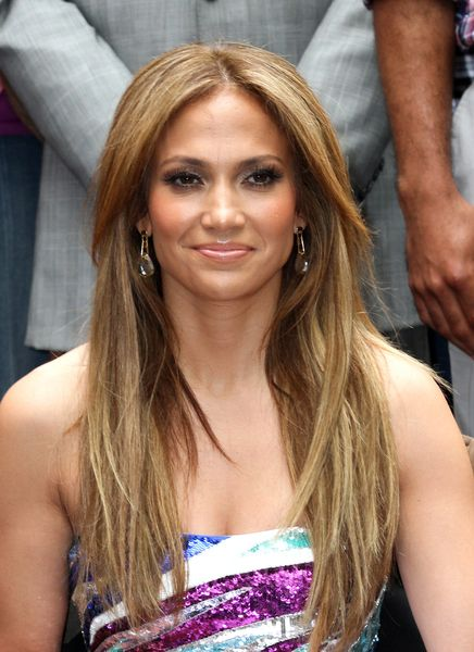 highlighted bangs   Jennifer Lopez Long Straight Hairstyle
