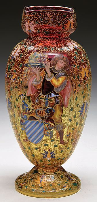 MOSER DECORATED AMBERINA VASE. Outstanding Moser vase has amberina body with allover enamel decoration of flowers, stems and leaves with various butterflies and flying insects surrounding the vase. The center of the vase is beautifully enameled with figure of an European courtier.