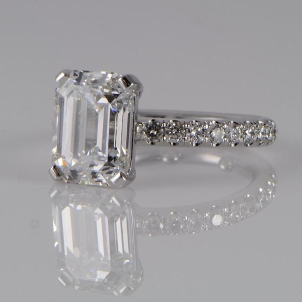 Platinum Emerald Cut Engagement Ring - Diamond District NYC - diamonds…