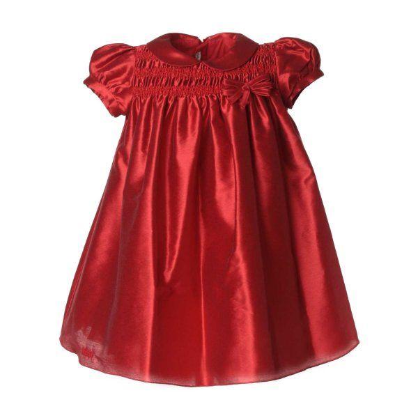 Abito rosso satinato per bimbe, autentico made in Italy della nuova linea di abbigliamento Bambina firmata Le Bebè Enfant-Collezione Autunno Inverno 2016/17. Realizzato in morbido tessuto misto cotone molto confortevole e piacevole da indossare. #annameglio #abitineonato #enfant #abbigliamento #neonato #bimba