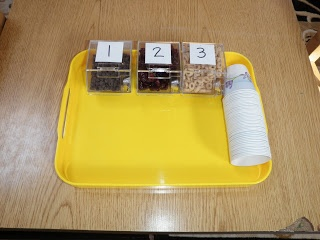 Montessori Design: Practical Life  Trail mix for snack, chocolate chips, dried cranberries and cheerios