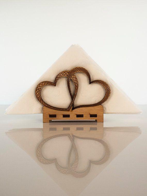 Laser cut hearts napkin holder by CustomEngravedArt on Etsy