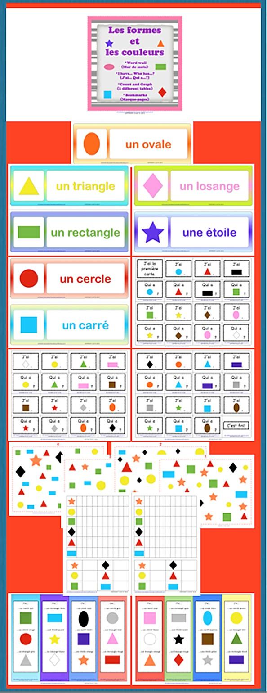 $ Les Formes et les couleurs: - WORD WALL - J'ai... Qui a...? - COUNT & GRAPH - Bookmarks.