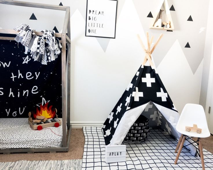 Children's teepee, teepee, tipi, teepee tent, play tent, room decor, black swiss cross, indoor teepee, indoor tipi, play teepee, monochrome by AChildsNook on Etsy https://www.etsy.com/listing/288398403/childrens-teepee-teepee-tipi-teepee-tent