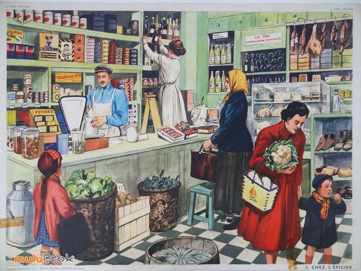 Chez l'épicier. Editions ROSSIGNOL Ancienne affiche scolaire école www.muluBrok.fr