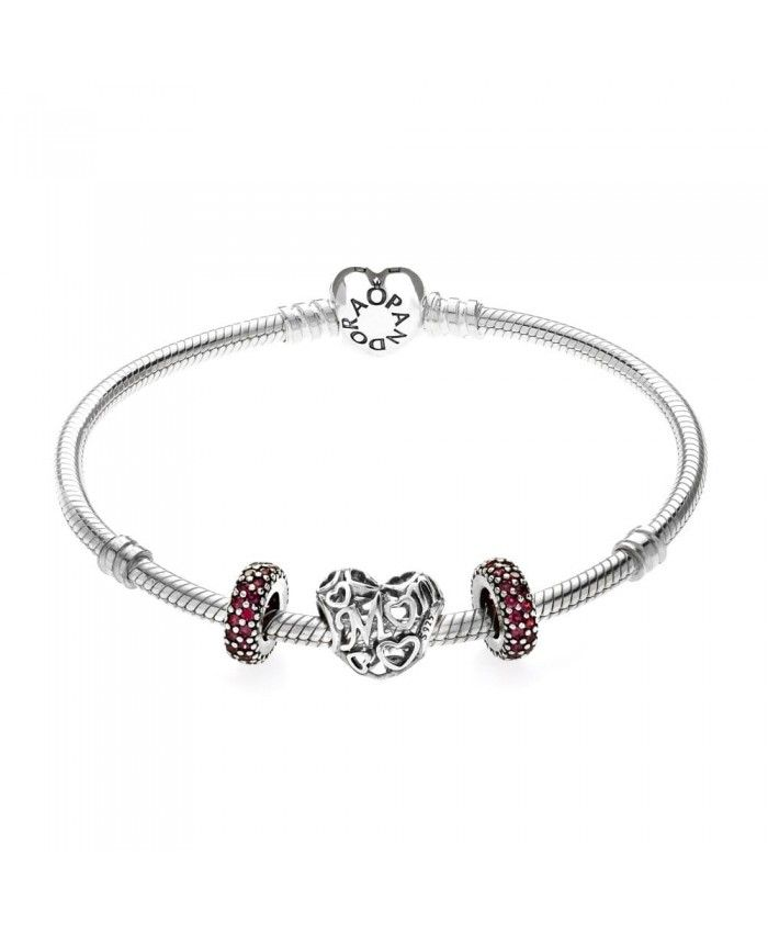 PANDORA Sparkling Mum Red Gift Bracelet Mother's Day gives mother the best gift.