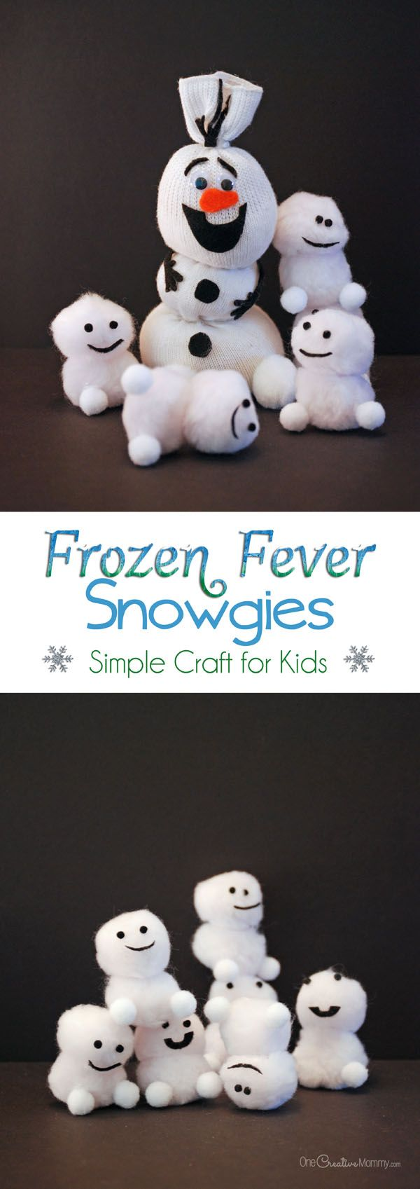 Quick and Easy Snowgies Craft for Kids inspired by Frozen Fever! {Soon your house will be covered with these adorable baby snowmen!} Tutorial on OneCreativeMommy.com