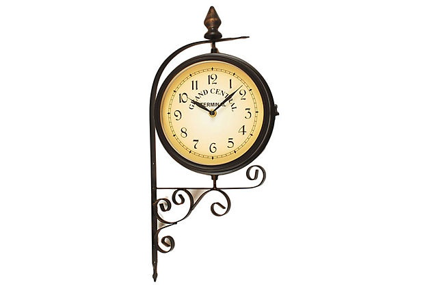 Bracket thermometer wall clock