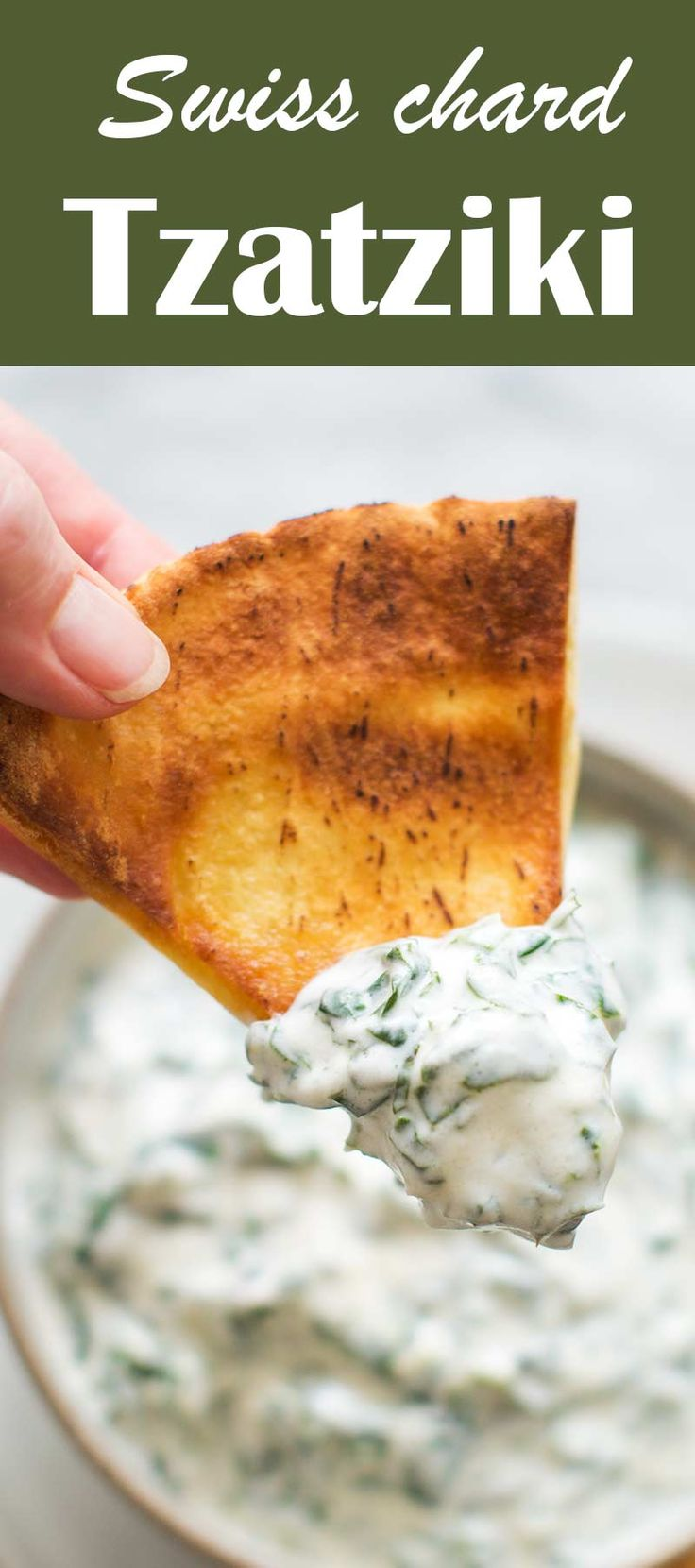 Delicious tzatziki yogurt dip with Swiss chard, mint, olive oil, lemon, and garlic. Great with pita chips!