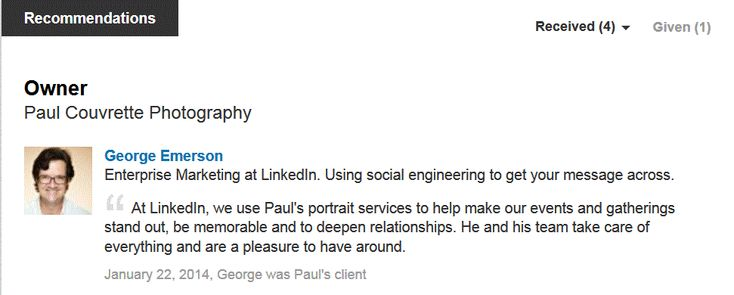 My LinkedIn reviews…It doesn`t get much better than this one.