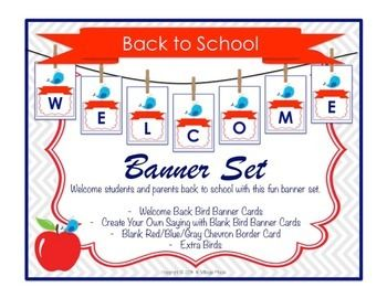 """Welcome Back To School Bird Banner Set   Welcome Students and Parents Back To School with this great banner. Includes the letters to make a """"Welcome Back"""" banner and blank Cards to create your own banner. Coordinates with my Back To School Night Advice Printable Set found at http://www.teacherspayteachers.com/Product/Back-To-School-Night-Advice-Printable-Set-1377931"""