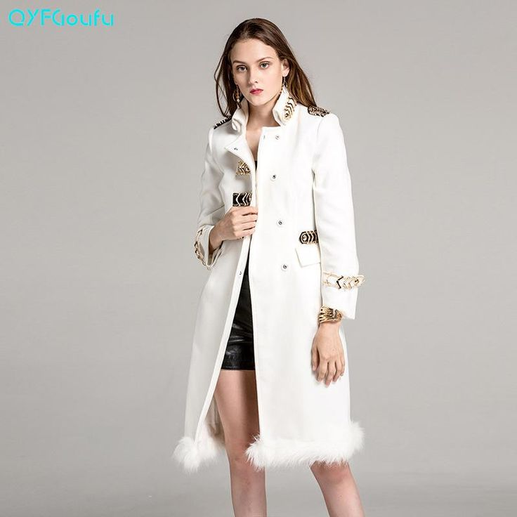 New Autumn Designer Runway Woman's Cashmere Long White Trench Coat Steampunk Style