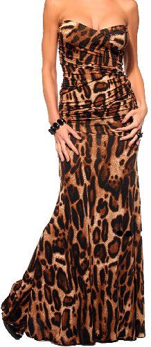 DESIGNER LEOPARD STRAPLESS OCCASION DRESS PARTY NEW MAXI GOWN, SmallGo wild when you put on this gorgeous leopard party dress, you will be elegantly eye-catching at any formal affair or party. This Hollywood red carpet style dress is perfect for any formal event. The strapless design of this animal printed party gown shows off your shoulders and the sweetheart neckline defines the bodice beautifully. The bodice is dramatically fitted and ruched p...
