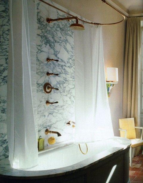 brass & marble bath.