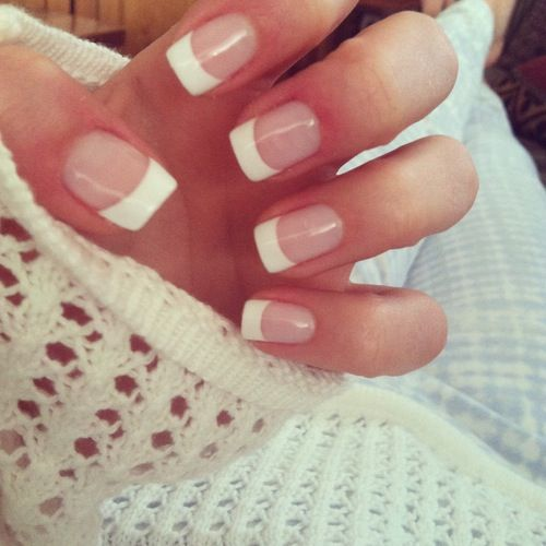 French manicure, always looks so neat.  mani - manicure- short nails - real nails- cute nails - nail polish - sexy nails - pretty nails - painted nails - nail ideas - French manicure - sparkle nails -diy nails